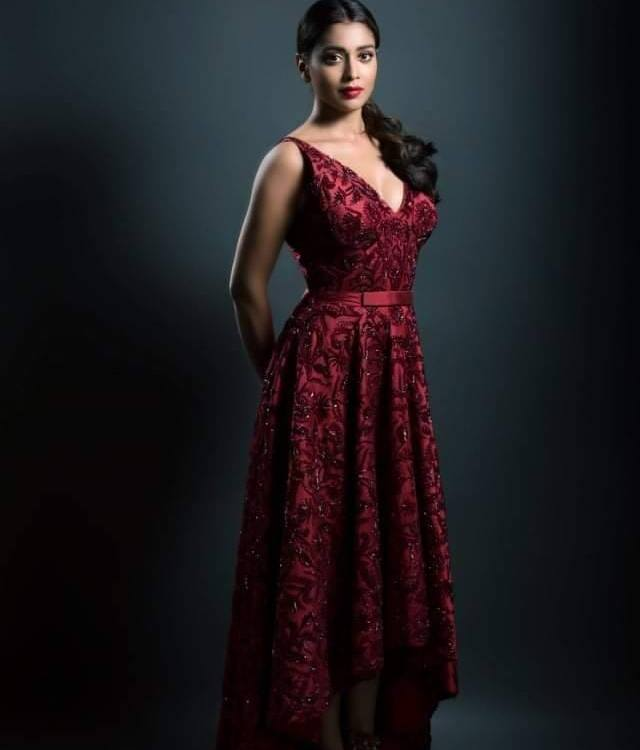 Shrian Saran Looks Hot in Mehroon Gown